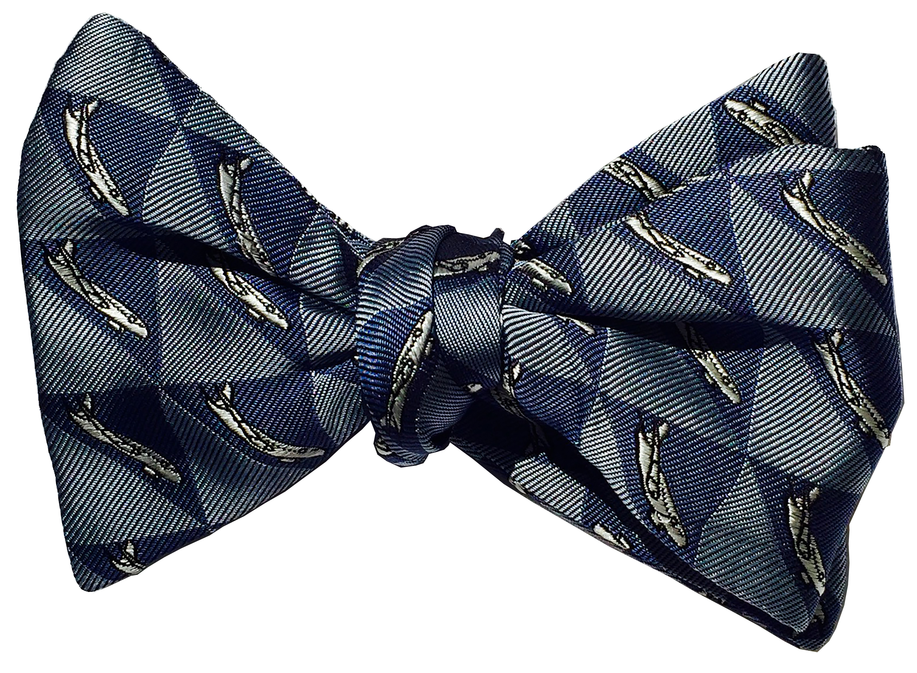 Airbus 320 airliner silk bow tie in grey blue and indigo