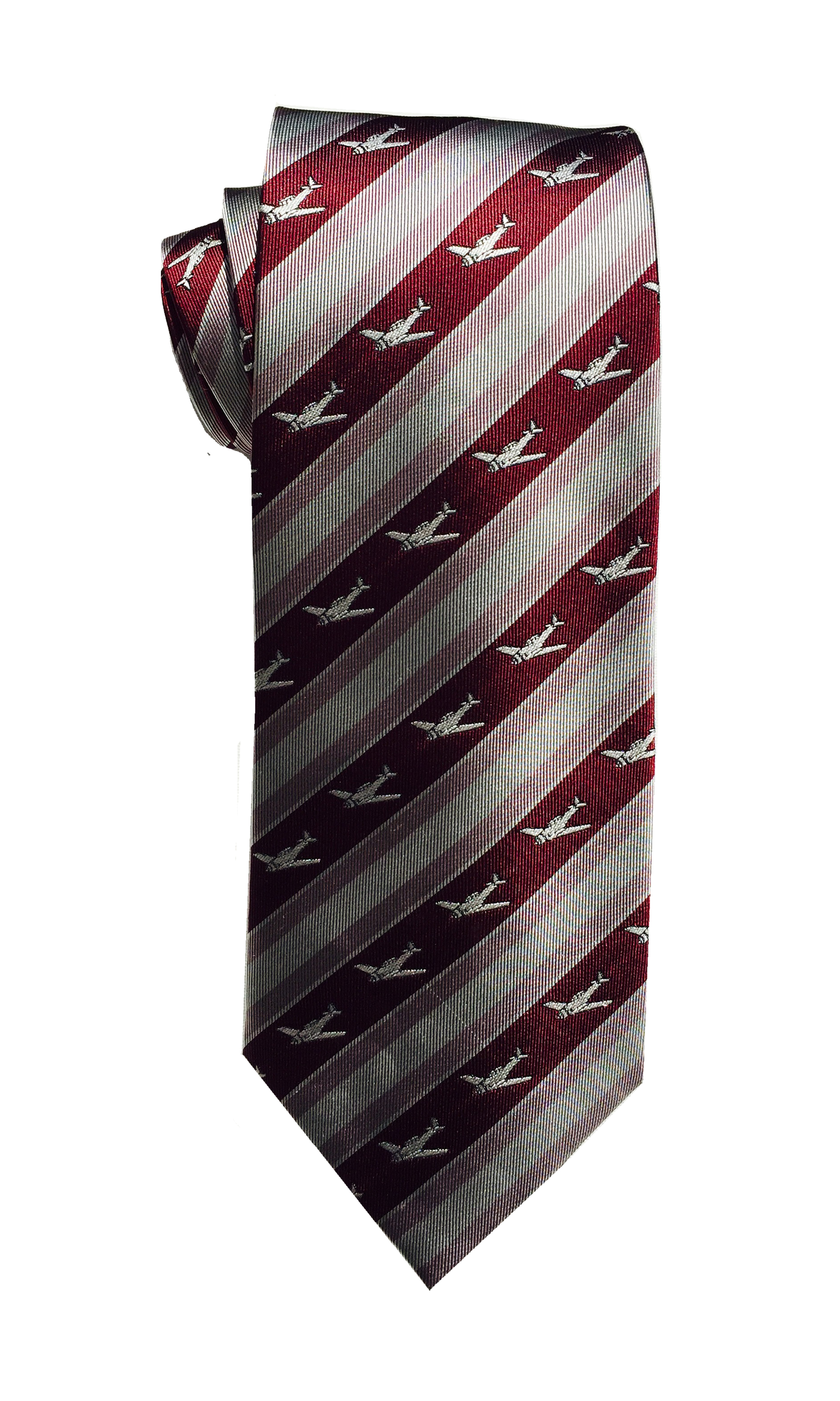 T-6 airplane tie in burgundy