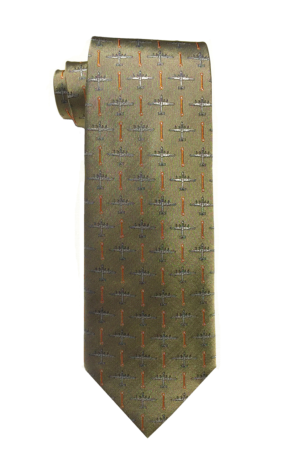 B-24 Liberator airplane tie in gold