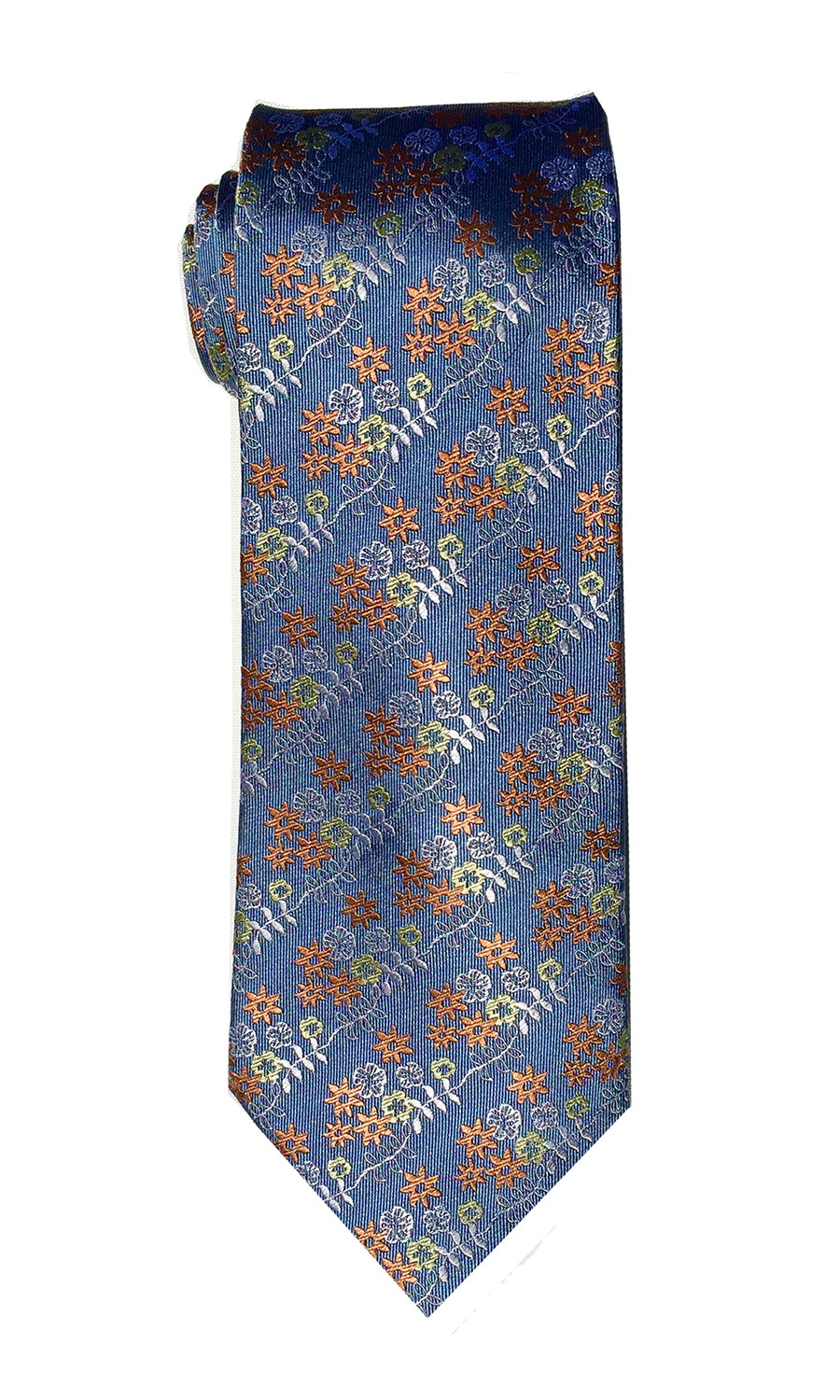 Foxtrot Charlie tie in periwinkle and orange