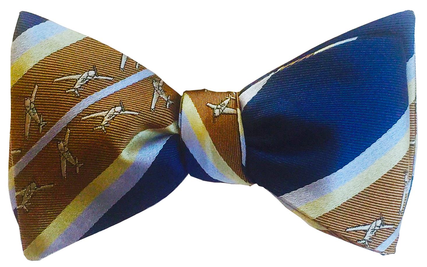 doppeldecker design designer aviation airplane aircraft silk bow tie bowtie mooney