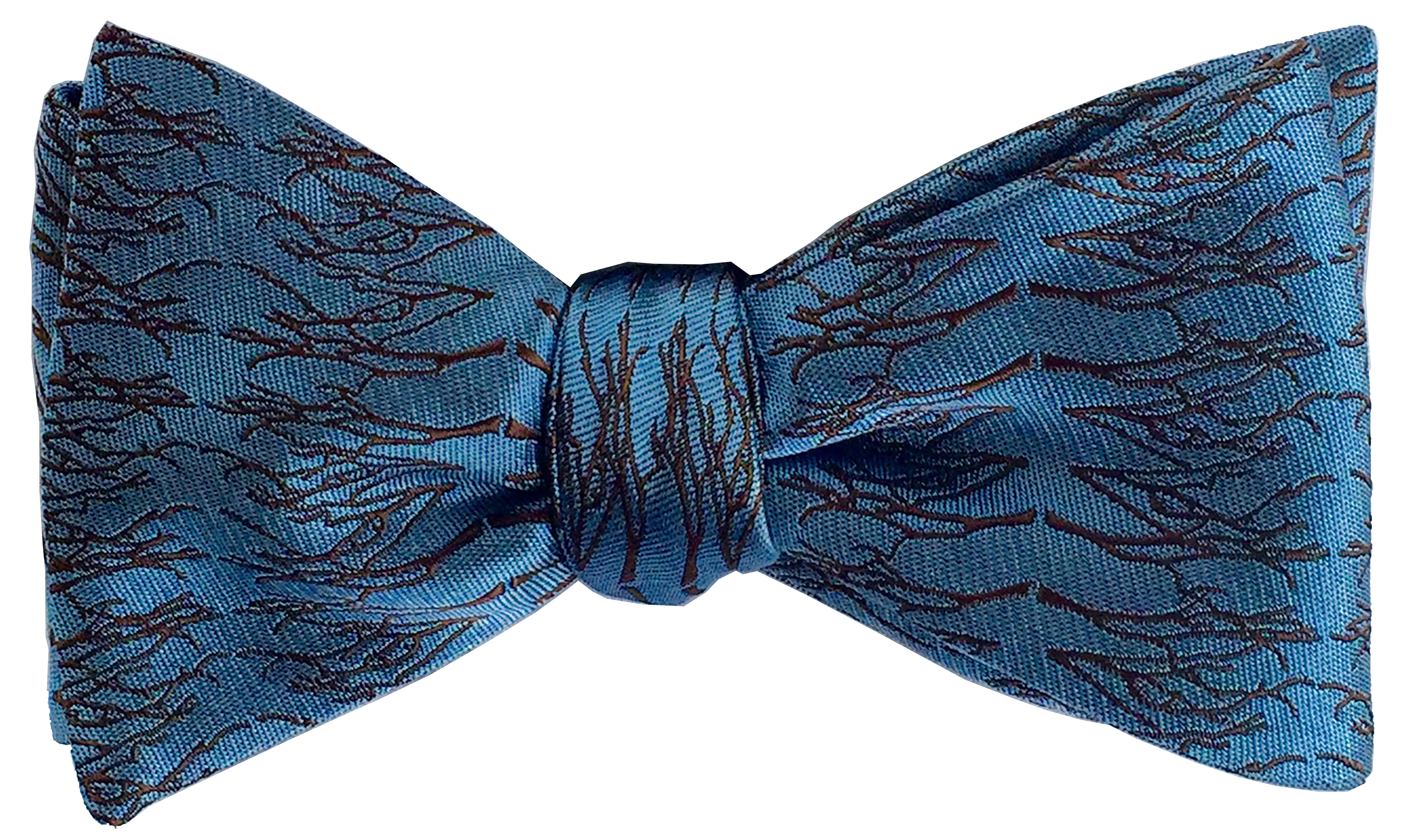 Winter Twig bow tie in Parisian blue and espresso