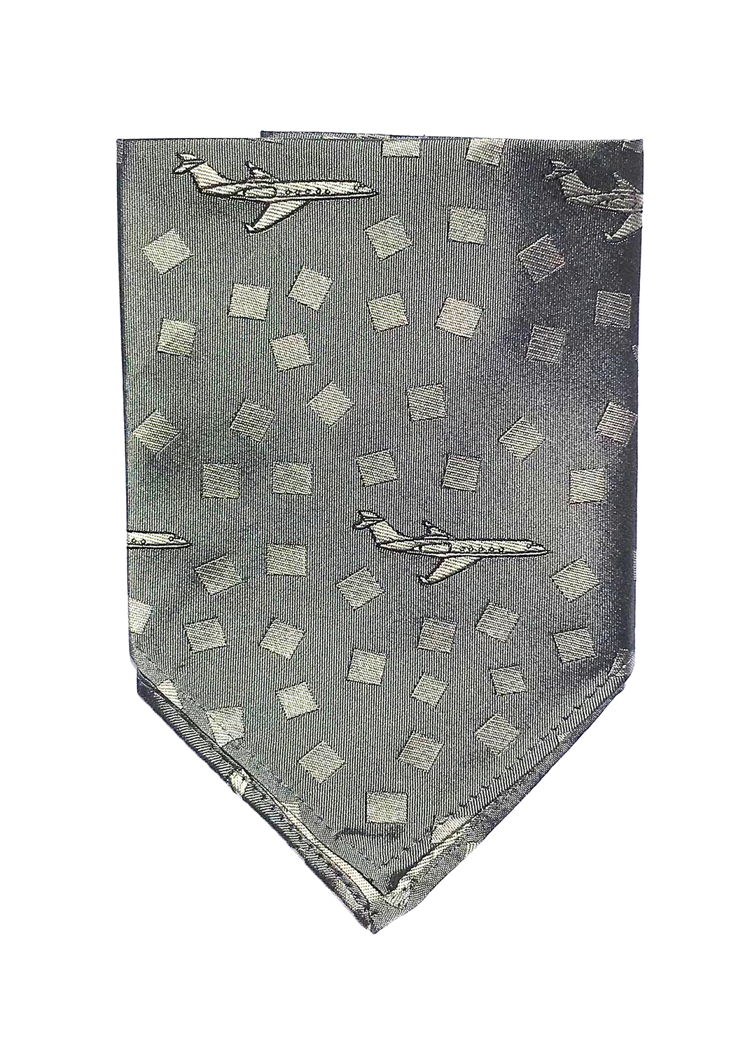 Gulfstream pocket square in iron and steel