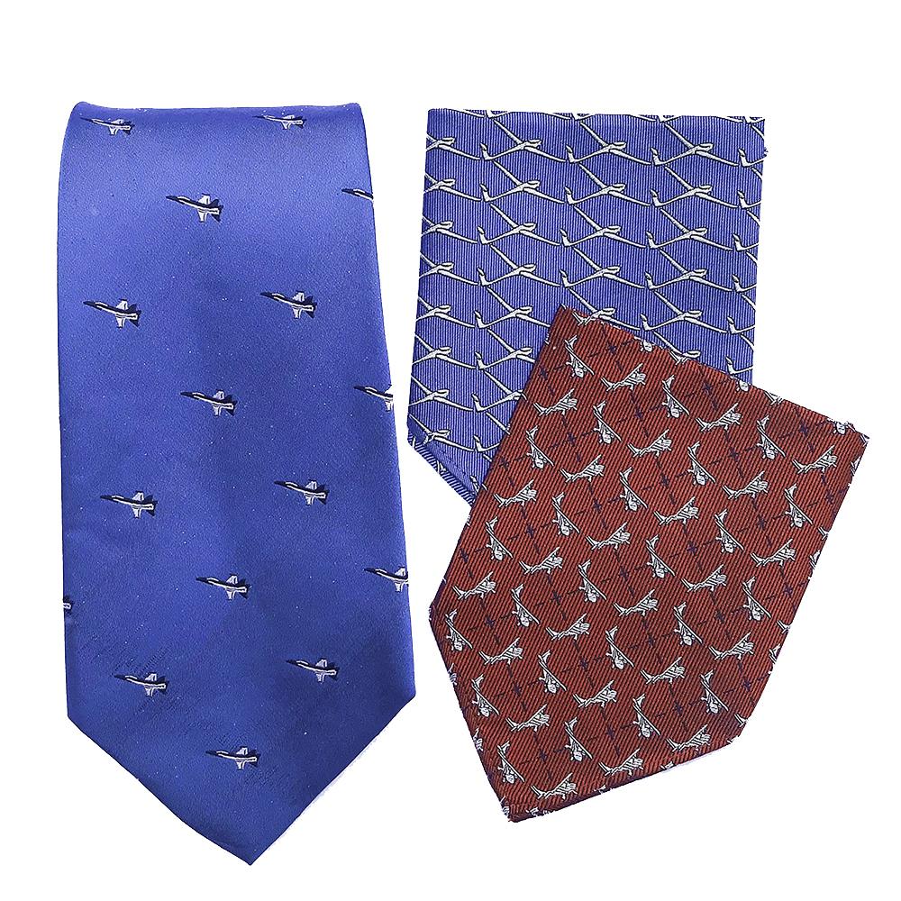 doppeldecker design aviation aircraft airplane pocket square tie silk bermuda