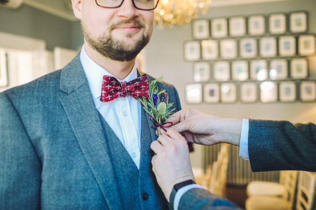Doppeldecker DC3 tie for groom at wedding