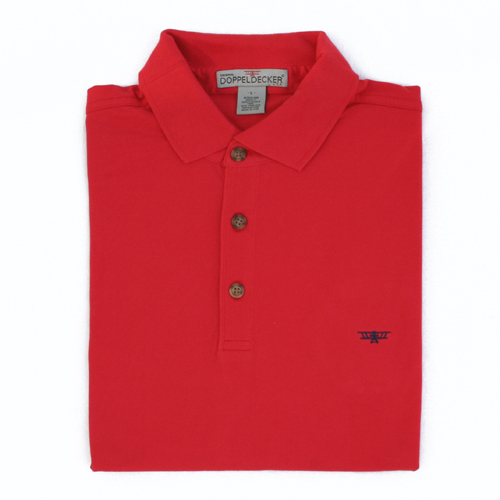 Biplane polo in hibiscus red