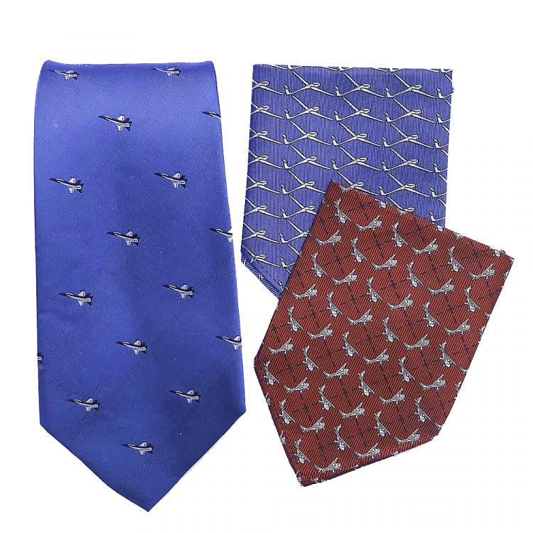 doppeldecker design aviation aircraft airplane pocket square tie silk bermuda