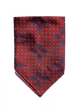 F-14 pocket square in deep red