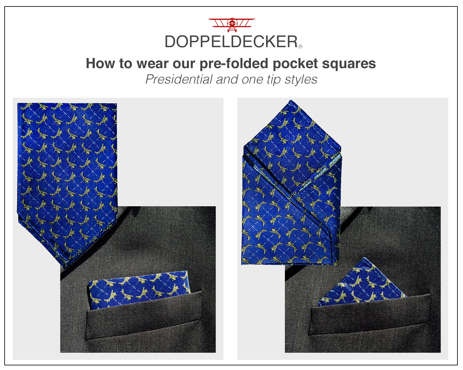 doppeldecker pocket square