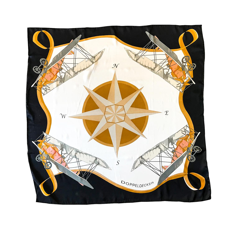 doppeldecker silk scarf compass biplane