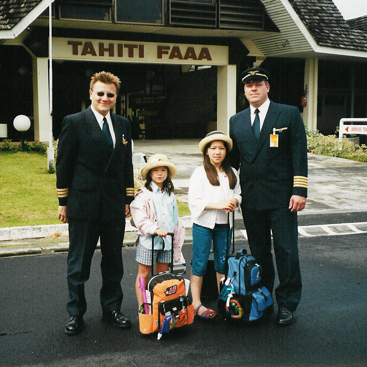 Tahiti airpor twith my pilot father after MD11F flight from LAX